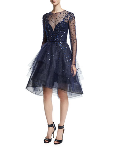 Long-Sleeve Illusion Tiered Dress, Navy