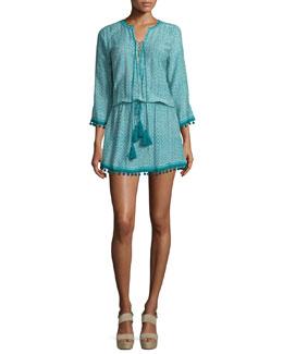 3/4-Sleeve Moroccan-Block Tassel Dress