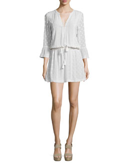 3/4-Sleeve Swiss Dot Silk Dress, Ivory