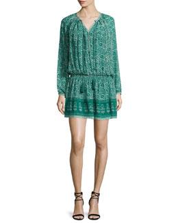 Long-Sleeve Printed Peasant Dress