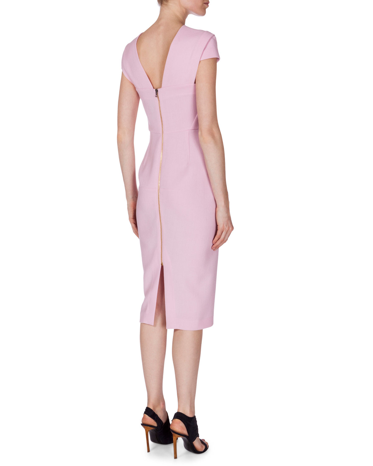 Roland Mouret Strapless Pleated Wool-crepe Dress in Dark