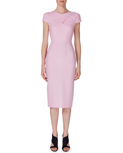 Short-Sleeve Pleat-Front Wool Crepe Sheath Dress, Pastel Pink