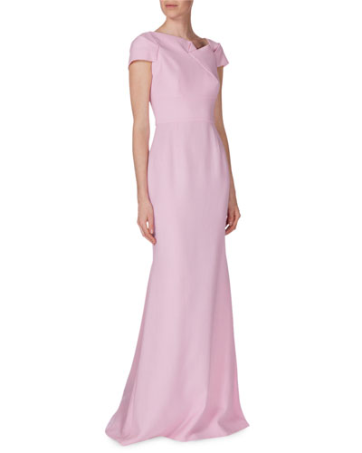 Short-Sleeve Pleat-Front Wool-Crepe Gown, Pastel Pink