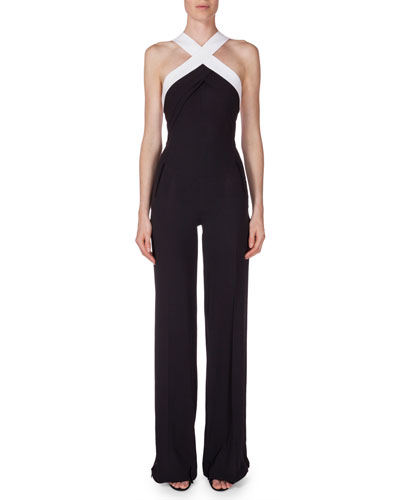 Halter-Neck Crepe Jumpsuit, Charcoal Gray