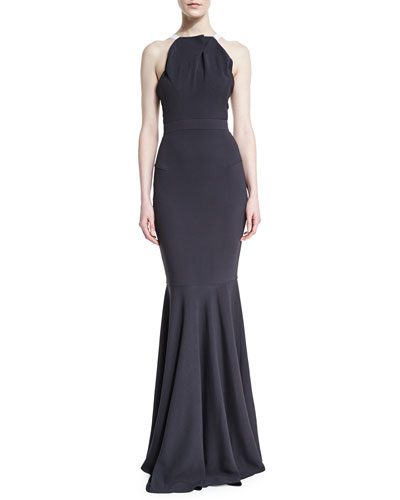 Pleated Halter-Neck Double-Crepe Mermaid Gown, Charcoal Gray