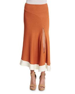 Asymmetric Jersey Midi Skirt, Copper