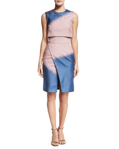 Sleeveless Slashed Wrap-Skirt Dress, Sugar Pink
