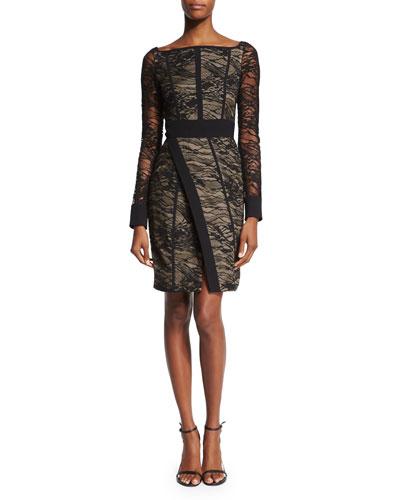 Long-Sleeve Lace Wrap-Front Dress, Black
