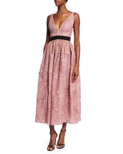 Sleeveless V-Neck Lace Dress, Sugar Pink
