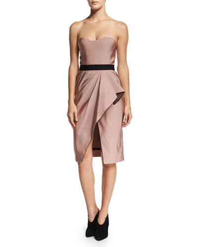 Strapless Wrap-Front Silk Faille Dress, Sugar Pink
