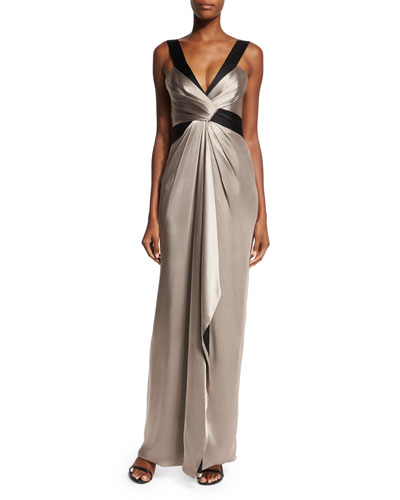 Two-Tone Draped Satin Gown, Taupe/Black