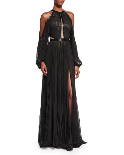 Pleated Cutout Silk Chiffon Halter Gown, Black