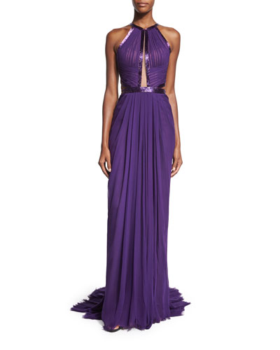 Pleated Silk Chiffon Halter Gown, Deep Lilac