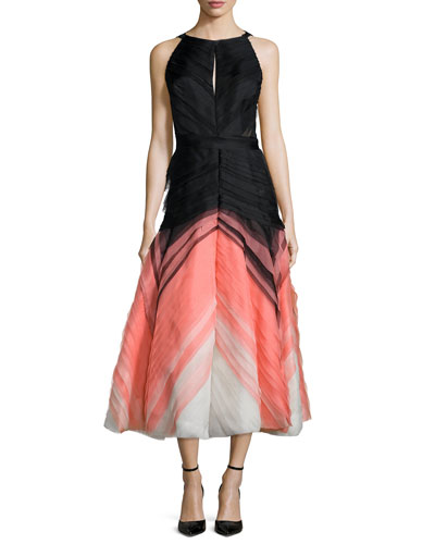 Degrade Pleated Tulle Halter Dress, Black/Coral