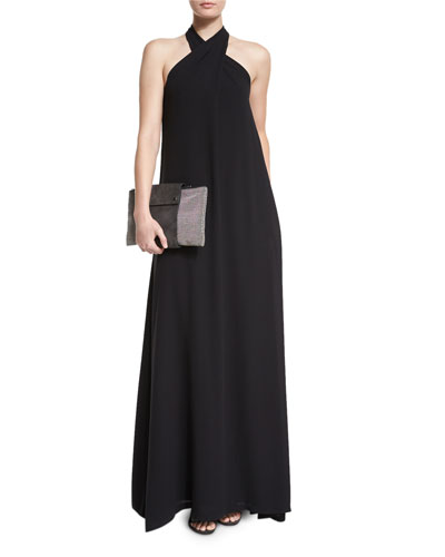 Cross-Neck Silk Crepe Halter Gown, Black