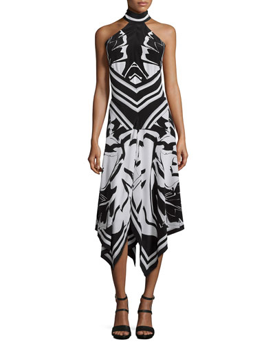 Silk Crepe de Chine Handkerchief Halter Dress, Black/White