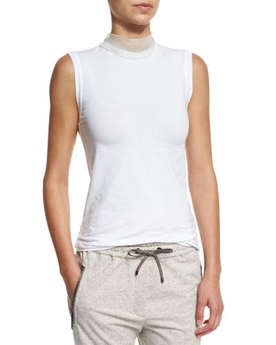 Stretch-Cotton Tank w/Chiffon Mock-Neck, White
