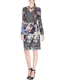 Fitted Split-Neck Wrap-Skirt Dress, Black