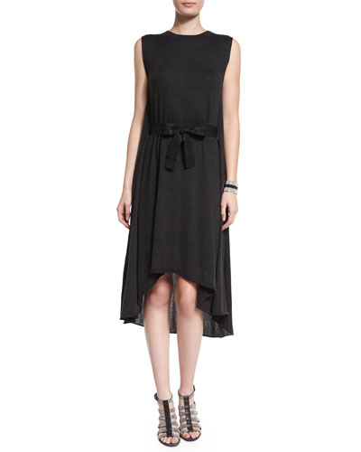 Sleeveless Cashmere-Silk Bow-Waist Dress, Anthracite