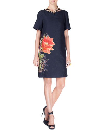 Floral Cloque Half-Sleeve Dress, Black