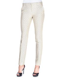 Diamond-Print Stretch-Jacquard Pants, Beige