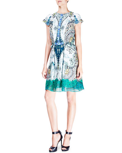 Floral-Paisley Cap-Sleeve Silk Dress, Green/Blue