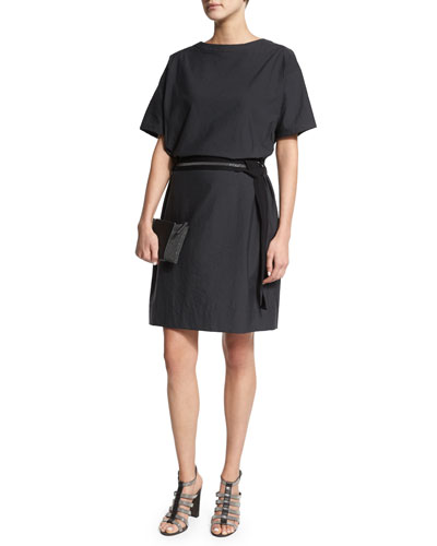 Short-Sleeve Belted Shift Dress, Dark Gray