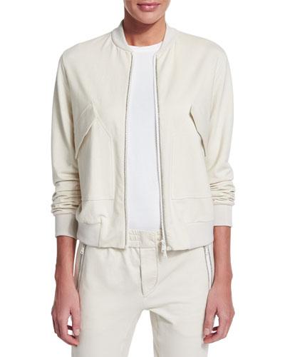 Zip-Front Long-Sleeve Varsity Jacket, Ivory