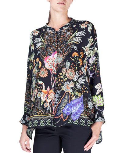 Long-Sleeve Animal-Paisley Silk Blouse, Black