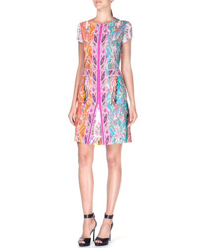Short-Sleeve Colorblock Paisley-Print Dress, Orange/Blue