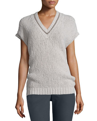 Dolman-Sleeve Knit Pullover Sweater, Light Gray