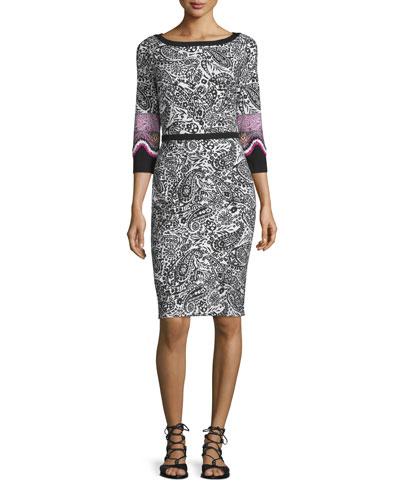 3/4-Sleeve Knit Paisley Sheath Dress, Black/White
