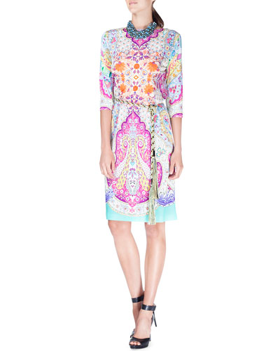 Half-Sleeve Paisley-Print Tunic Dress, Blue