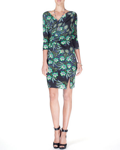 3/4-Sleeve Floral-Print Faux-Wrap Dress, Black/Green