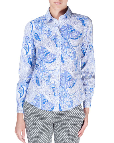 Long-Sleeve Paisley-Print Blouse, Blue/White