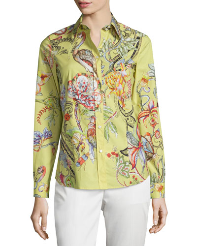 Long-Sleeve Botanical-Print Cotton Blouse, Yellow