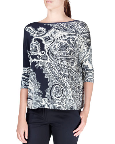Paisley-Print 3/4-Sleeve Top, Black/White