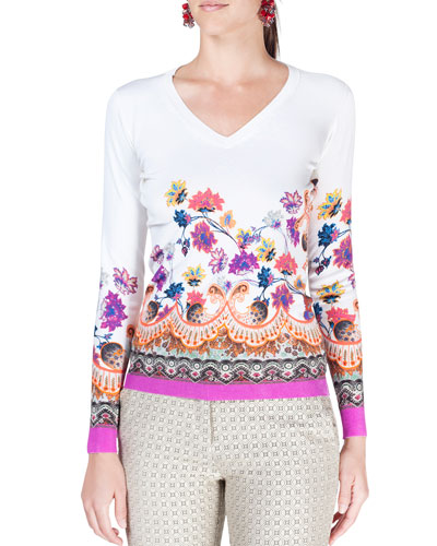 Degrade Floral-Print V-Neck Top, White/Multi
