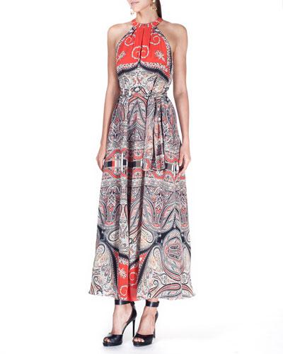 Paisley-Print Silk Tie-Waist Maxi Dress, Orange/Multi