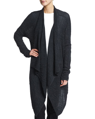 Pillow-Stitch Cashmere/Silk Open Sweater, Charcoal