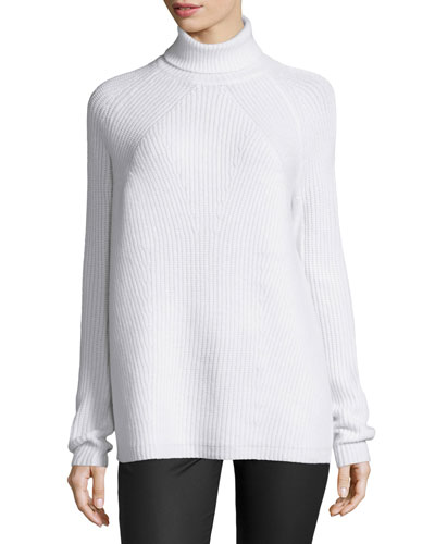 Melange Ribbed Turtleneck Sweater, Ivory