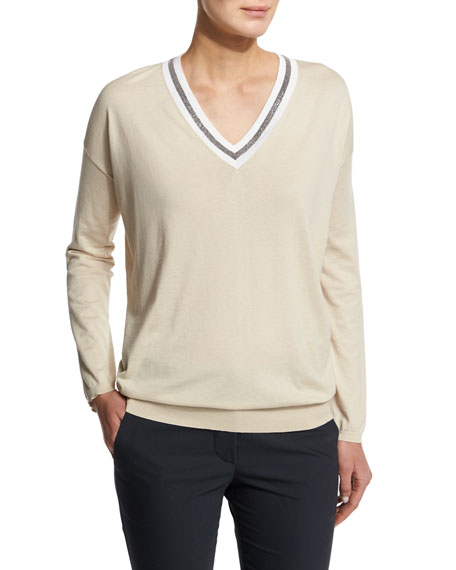 Long-Sleeve V-Neck Rugby Sweater, Butter