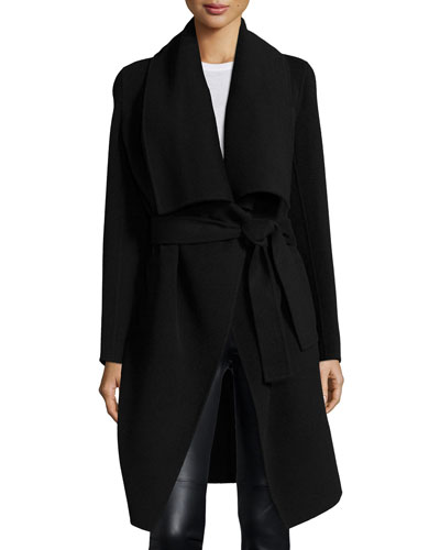 Double-Face Cashmere Clutch Coat, Black