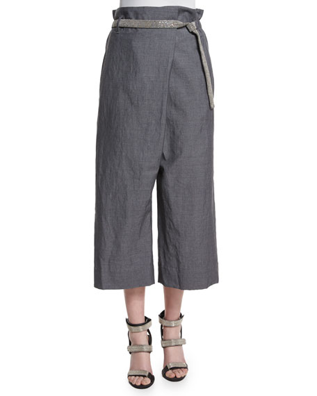 Fold-Over Wide-Leg Cropped Trousers, Medium Gray