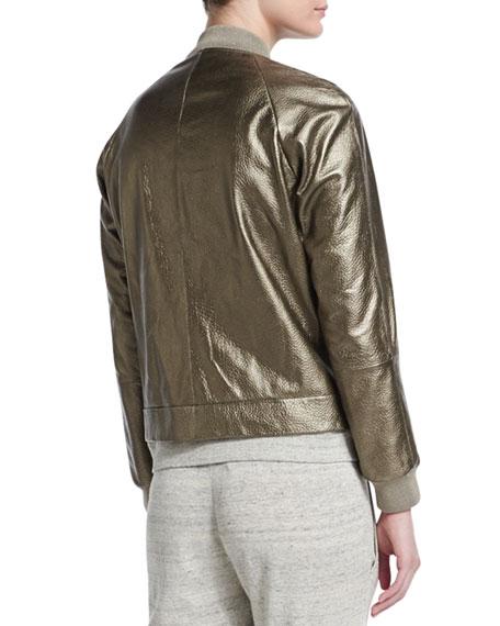 Metallic Leather Bomber Jacket, Military Gold