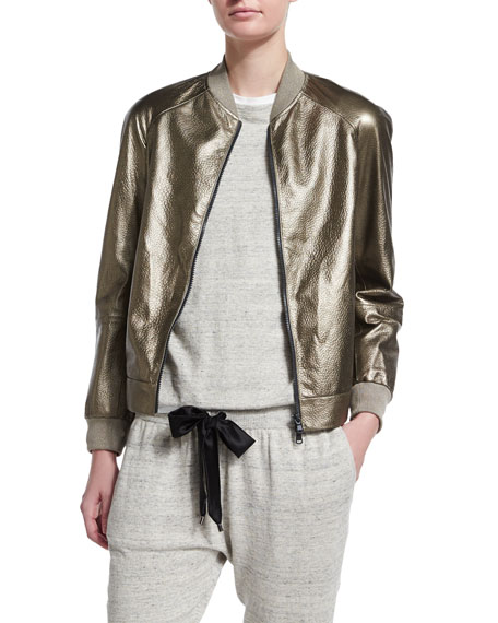 d4fc0269a Metallic Leather Bomber Jacket Military Gold