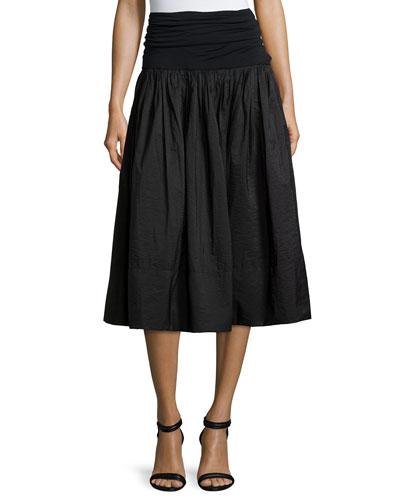 Paper Cotton A-Line Skirt w/Jersey Waist