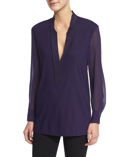 Stretch-Georgette Long-Sleeve Tunic, Purple