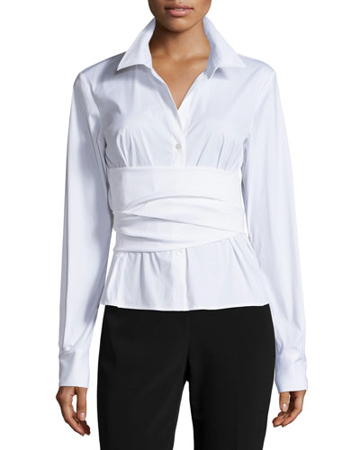 Refined Stretch-Cotton Wrap-Front Blouse, White