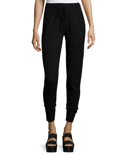 Cashmere-Blend Stretch Sweatpants, Black